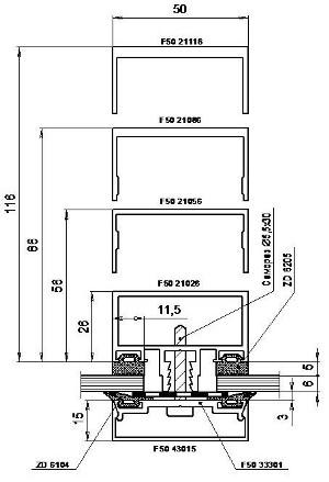 Типовое сечение ригеля без терморазрыва