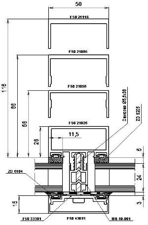 Типовое сечение ригеля с терморазрывом